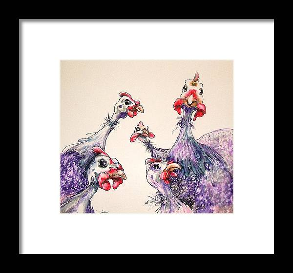 Framed Print featuring the painting Roosters by Panolamani Holdings