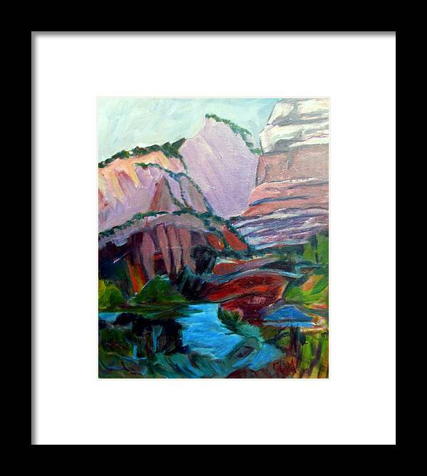 Zion National Park Framed Print featuring the painting Roots And Rock Of Zion by Betty Pieper