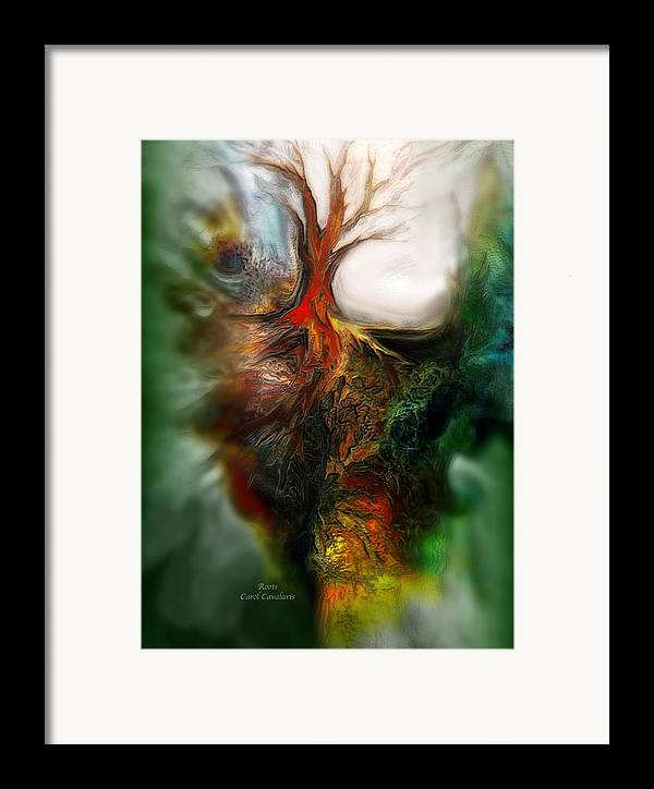 Abstract Framed Print featuring the mixed media Roots by Carol Cavalaris