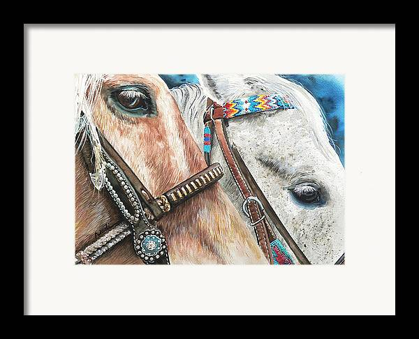 Horse Framed Print featuring the painting Roping Horses by Nadi Spencer