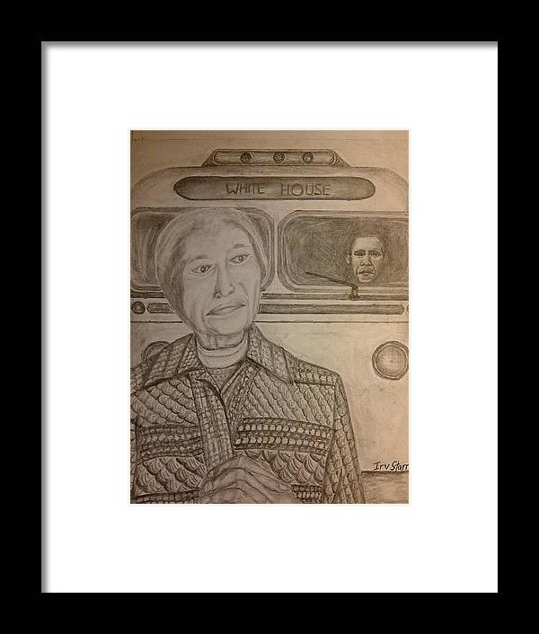 Rosa Parks Framed Print featuring the drawing Rosa Parks Imagined Progress by Irving Starr