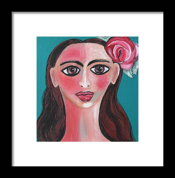 Canvas Framed Print featuring the painting Rosa by Sue Wright