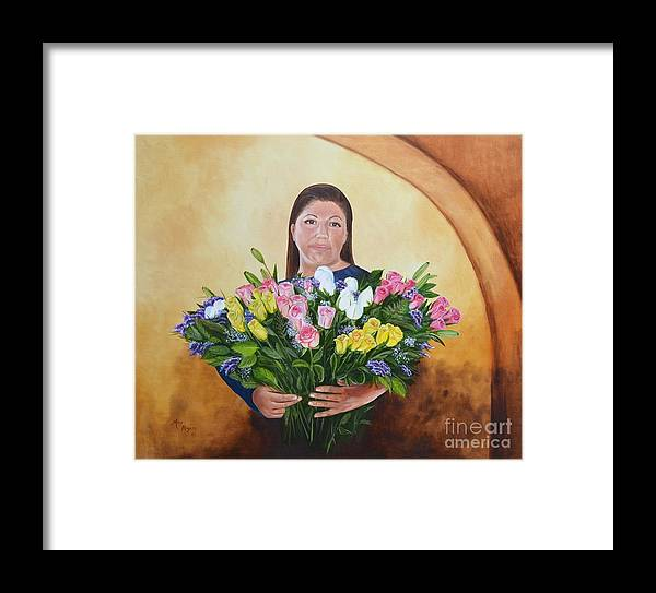 People Framed Print featuring the painting Rosa's Roses by Mary Rogers
