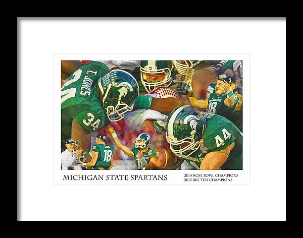 Michigan State Framed Print featuring the painting Rose Bowl Collage by John Farr