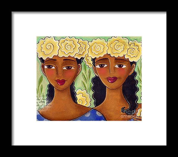 Yellow Roses Framed Print featuring the painting Rose Crown Sisiters by Elaine Jackson