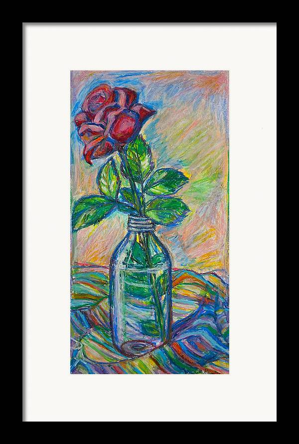 Still Life Framed Print featuring the painting Rose In A Bottle by Kendall Kessler