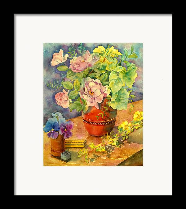 Julia Rowntree Framed Print featuring the photograph Roses And Pansies by Julia Rowntree