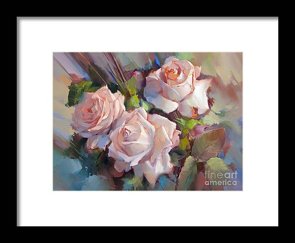 Flowers Framed Print featuring the painting Roses Creme De La Creme by Alexey Shalaev