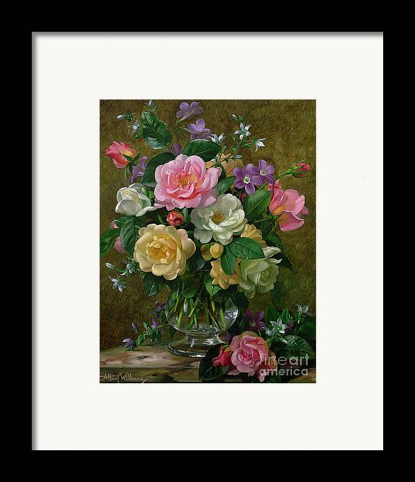 Still-life Framed Print featuring the painting Roses In A Glass Vase by Albert Williams