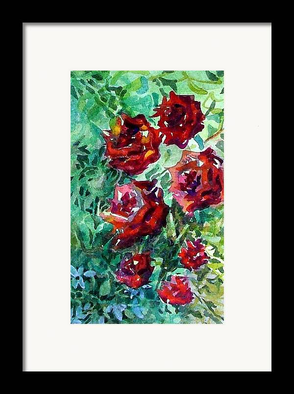 Rose Framed Print featuring the painting Roses by Mindy Newman
