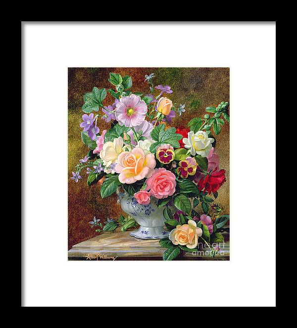Still-life Framed Print featuring the painting Roses Pansies And Other Flowers In A Vase by Albert Williams