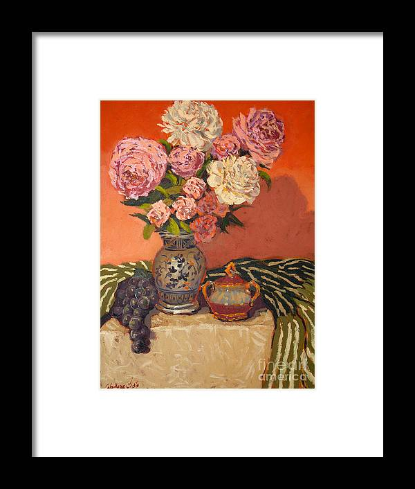 Still Life Arrangements Framed Print featuring the painting Roses Peonies And Grapes by Monica Caballero