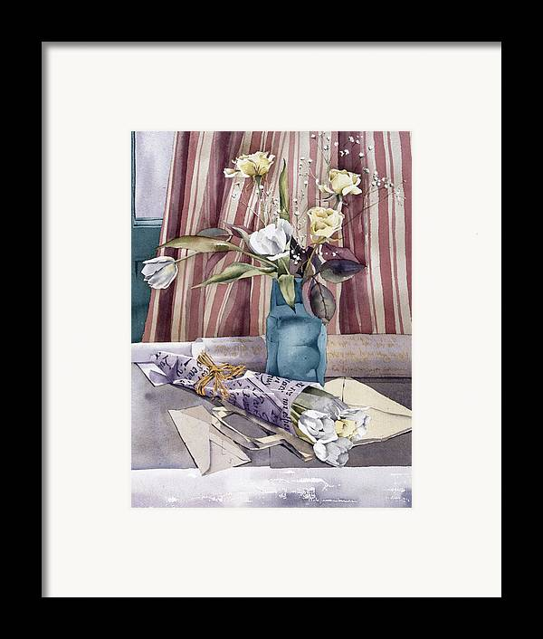 Julia Rowntree Framed Print featuring the photograph Roses Tulips And Striped Curtains by Julia Rowntree