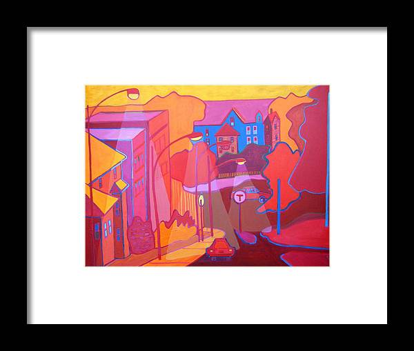 Cityscape Framed Print featuring the painting Roslindale Never Looked so Red by Debra Bretton Robinson