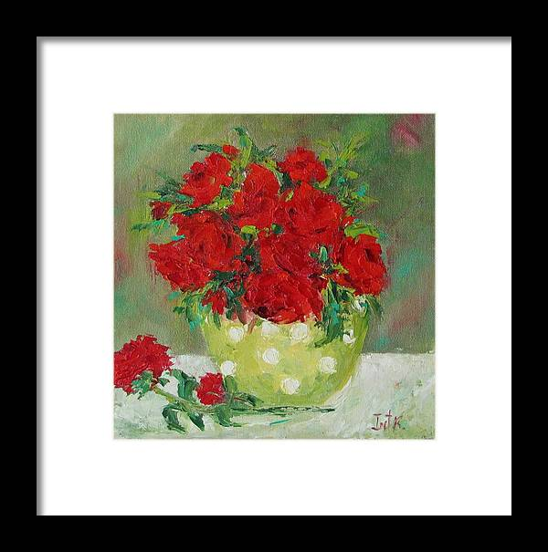 Floral Framed Print featuring the painting Rosses R Red by Irit Bourla