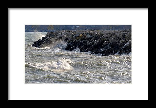Rocks Framed Print featuring the photograph Rough Day On The Lake by Kay Novy