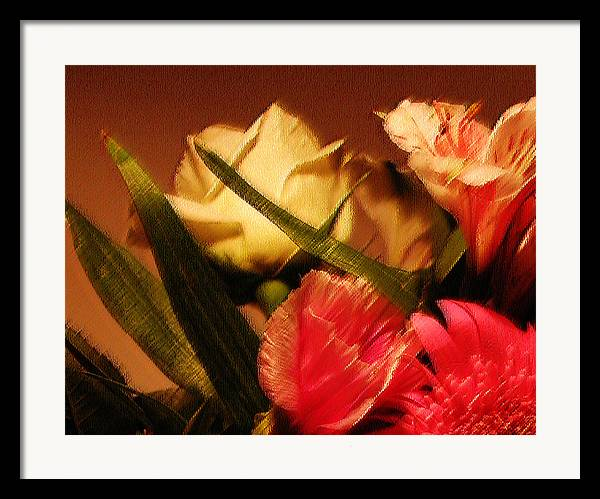 Abstract Framed Print featuring the photograph Rough Pastel Flowers - Award-winning Photograph by Gerlinde Keating - Galleria GK Keating Associates Inc