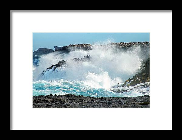 Duane Mccullough Framed Print featuring the photograph Rough Waves Offshore Whale Point by Duane McCullough