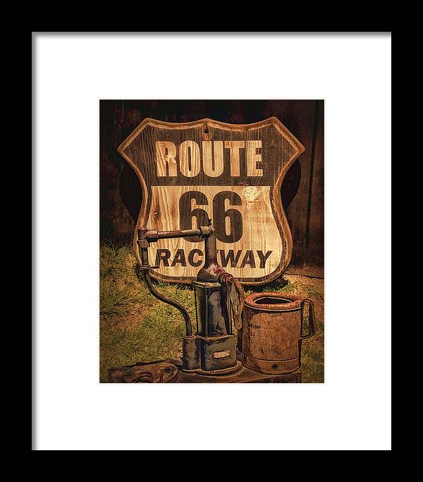 Route 66 Raceway Sign Framed Print featuring the photograph Route 66 Raceway by Priscilla Burgers