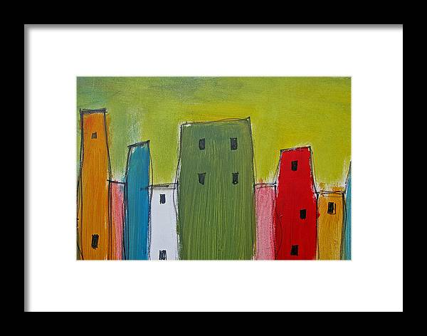 Skyline Framed Print featuring the painting Row Houses by Rhodes Rumsey