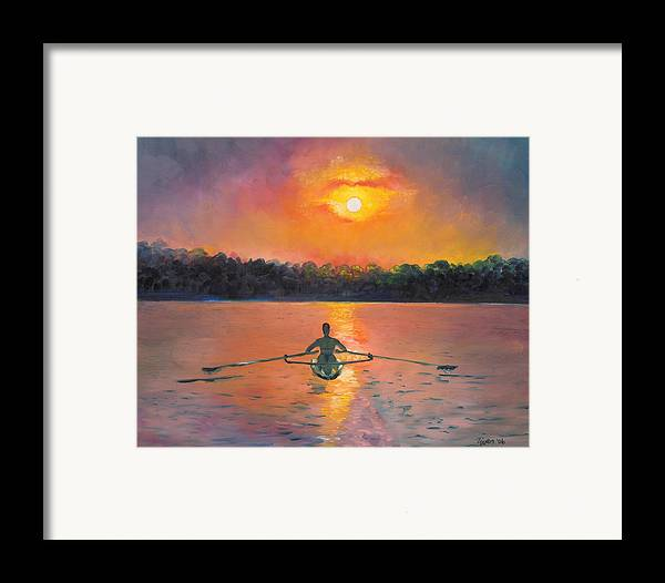 Rowing Framed Print featuring the painting Rowing Away by Eve Wheeler