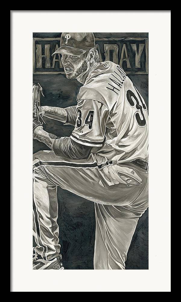 Roy Halladay Philadelphia Phillies Pitcher Baseball Painting David Courson Art Framed Print featuring the painting Roy Halladay by David Courson