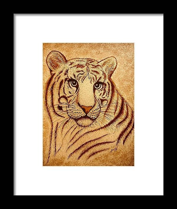 Modern Tiger Painting With Coffee Framed Print featuring the painting Royal Tiger Coffee Painting by Georgeta Blanaru