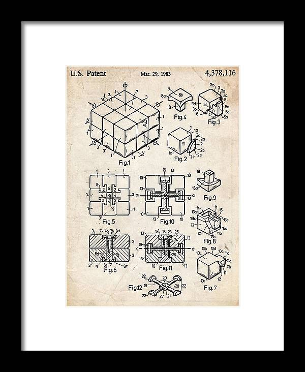 Rubiks Cube Puzzle Patent Art Framed Print by Stephen Chambers