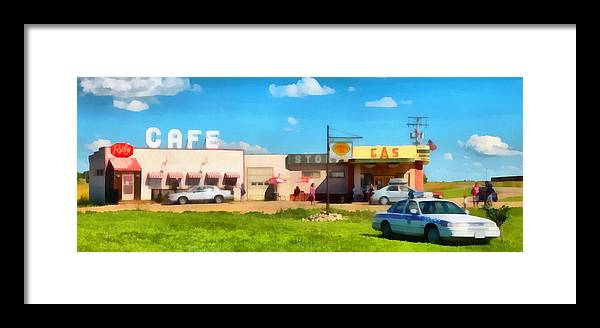 Gas Framed Print featuring the photograph Ruby Cafe Corner Gas by Mick Flynn