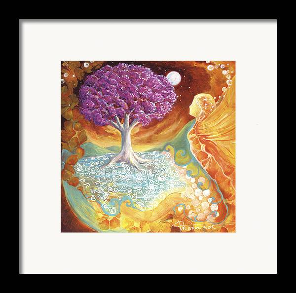 Earth Framed Print featuring the painting Ruby Tree Spirit by Valerie Graniou-Cook
