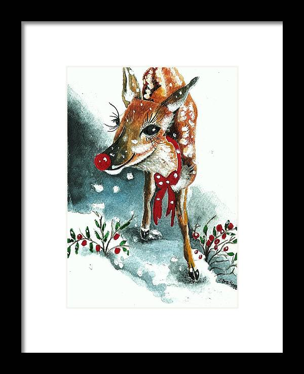Snow Framed Print featuring the painting Rudolf by Joy Bradley