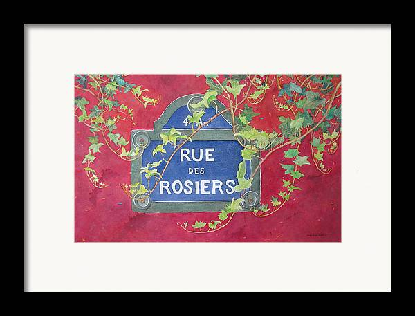 Red Wall Framed Print featuring the painting Rue Des Rosiers In Paris by Mary Ellen Mueller Legault
