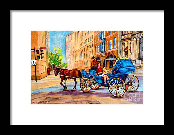 Rue Notre Dame Framed Print featuring the painting Rue Notre Dame Caleche Ride by Carole Spandau