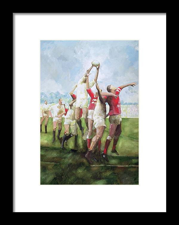 Rugby Match Llanelli V Swansea, Line Out Framed Print by Gareth ...