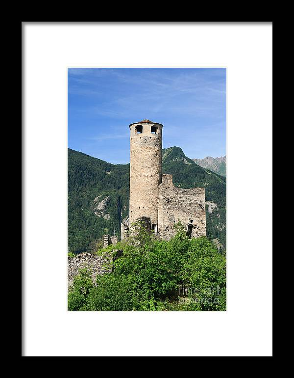 Alps Framed Print featuring the photograph ruins of Chatelard castle by Antonio Scarpi