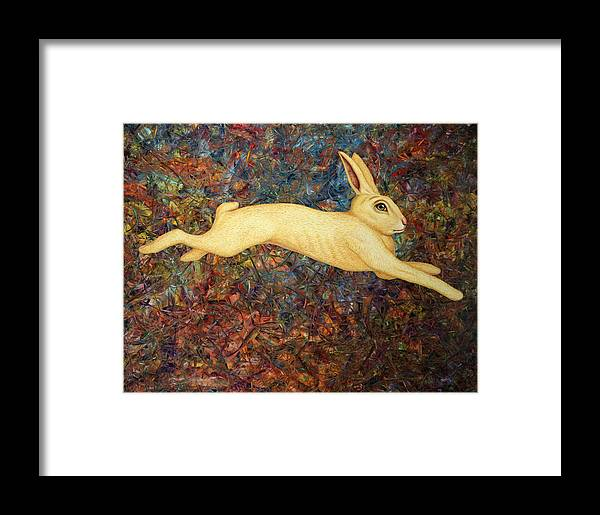 Rabbit Framed Print featuring the painting Running Rabbit by James W Johnson