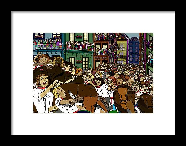 Bulls Framed Print featuring the digital art Running With The Bulls 1 by Karen Elzinga