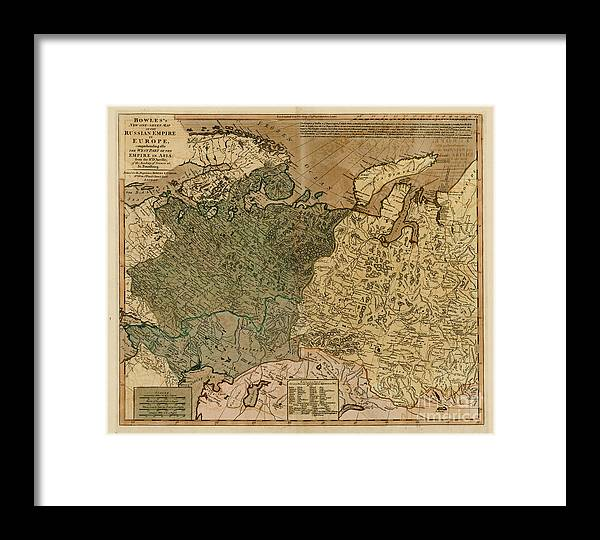 Russian Empire In Europe Old World Map Framed Print By Inspired