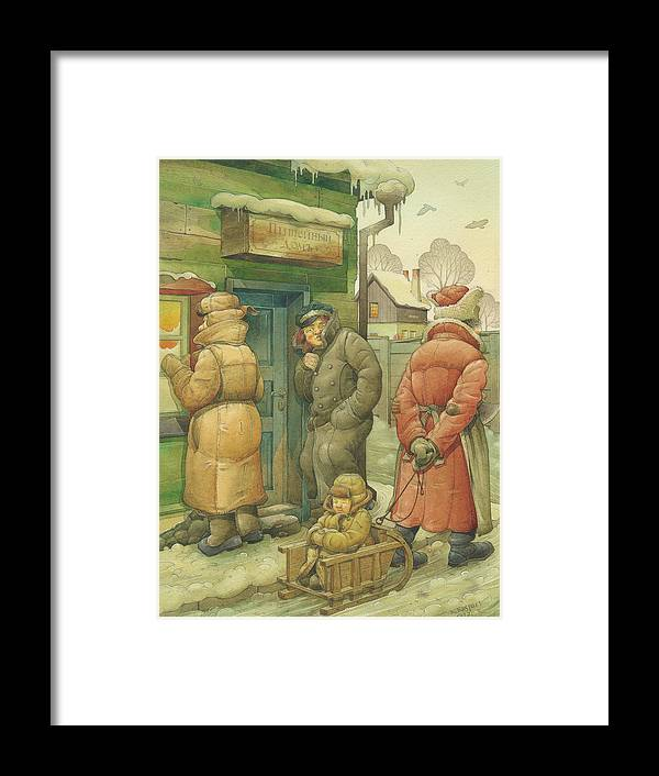 Russian Winter Cold Street Pub Christmas Sledge Snow Framed Print featuring the drawing Russian Scene 07 by Kestutis Kasparavicius