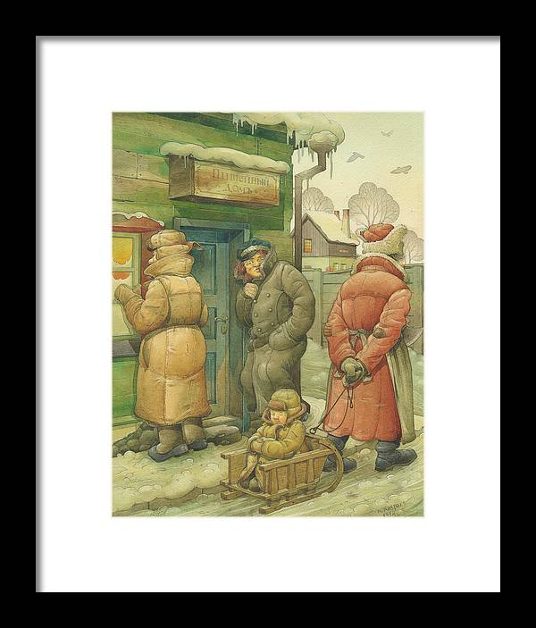 Russian Winter Framed Print featuring the painting Russian Scene 07 by Kestutis Kasparavicius