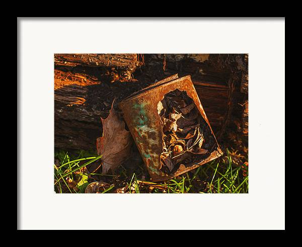 Landscape Framed Print featuring the painting Rusted Can Of Leaves by Jack Zulli