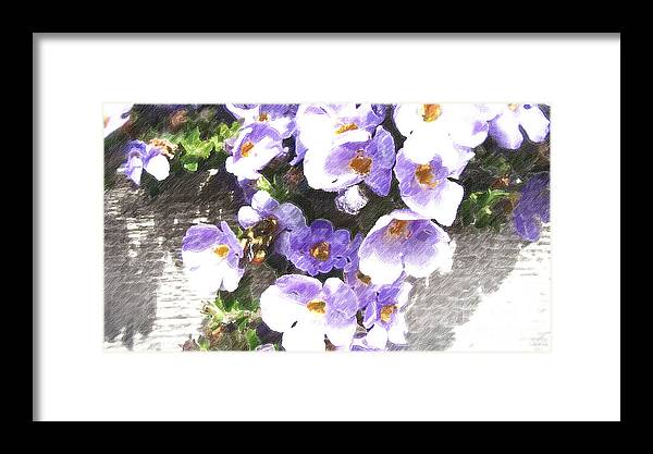 Abstract Flower Framed Print featuring the digital art Rustic Planter Box by Beverly Guilliams