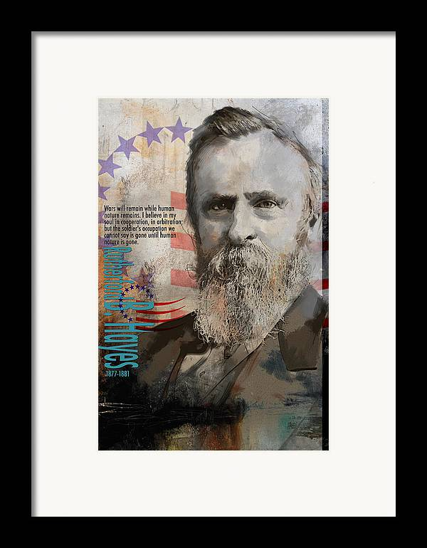 Rutherford B. Hayes Framed Print featuring the painting Rutherford B. Hayes by Corporate Art Task Force