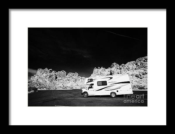 Valley Framed Print featuring the photograph Rv Camping Van Parked At Valley Of Fire State Park Nevada Usa by Joe Fox