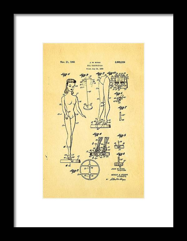 Crafts Framed Print featuring the photograph Ryan Barbie Doll Patent Art 1961 by Ian Monk
