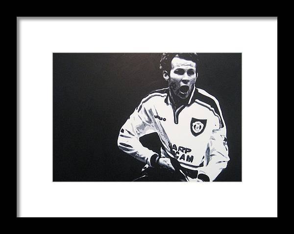 Ryan Giggs Framed Print featuring the painting Ryan Giggs - Manchester United Fc by Geo Thomson