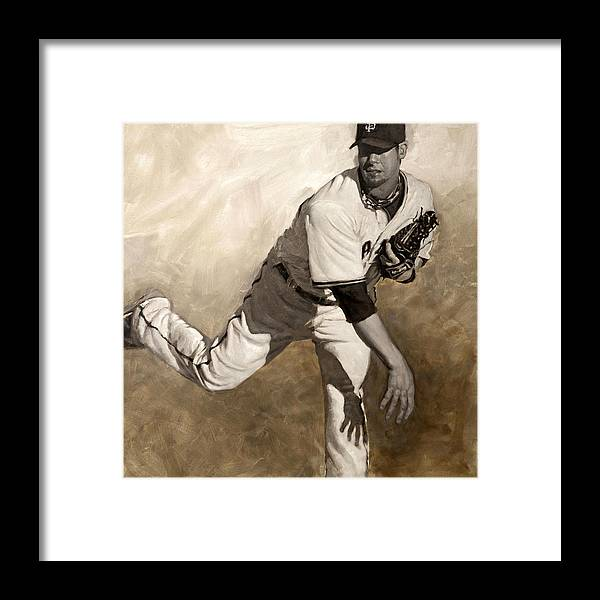 Ryan Vogelsong Framed Print featuring the painting Ryan Vogelsong Perseverence by Darren Kerr