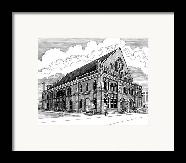 Architecture Framed Print featuring the drawing Ryman Auditorium In Nashville Tn by Janet King