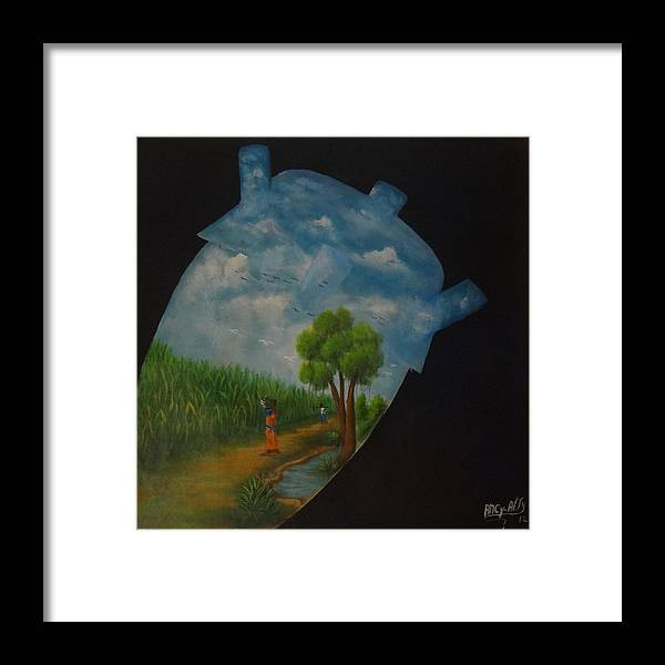 Abstract Framed Print featuring the painting Rythm by Ancy Alty