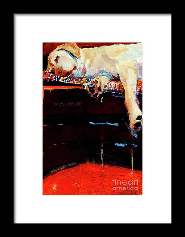 Dog Sleeping Framed Print featuring the painting Sacked by Molly Poole